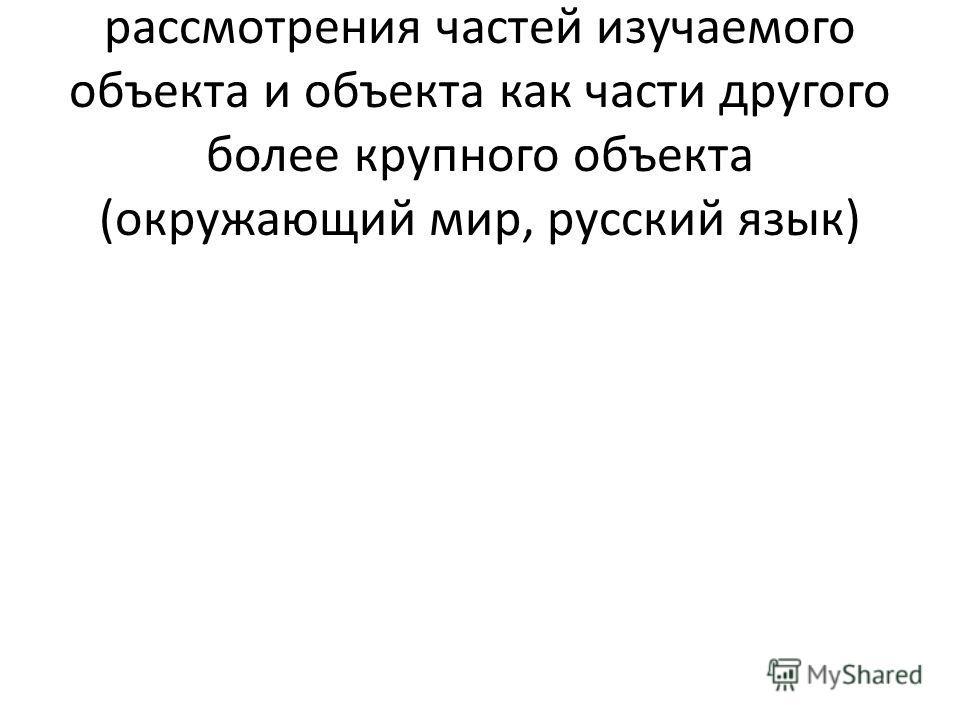 – Системный лифт для рассмотрения частей изучаемого объекта и объекта как части другого более крупного объекта (окружающий мир, русский язык)