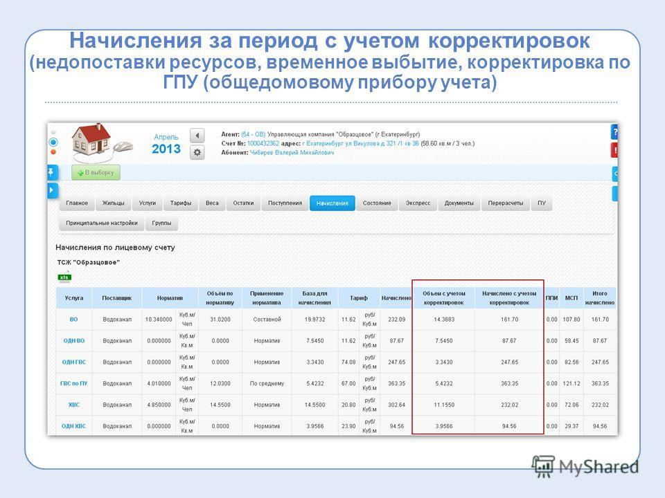Начисления за период с учетом корректировок (недопоставки ресурсов, временное выбытие, корректировка по ГПУ (общедомовому прибору учета)