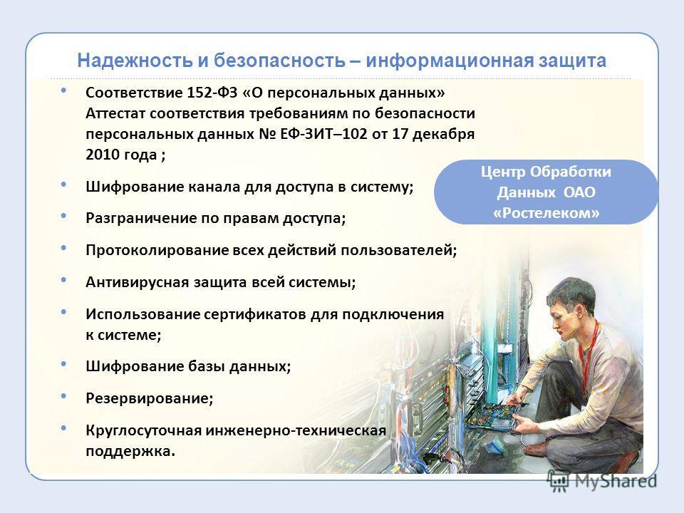 Надежность и безопасность – информационная защита Соответствие 152-ФЗ «О персональных данных» Аттестат соответствия требованиям по безопасности персональных данных ЕФ-ЗИТ–102 от 17 декабря 2010 года ; Шифрование канала для доступа в систему; Разграни