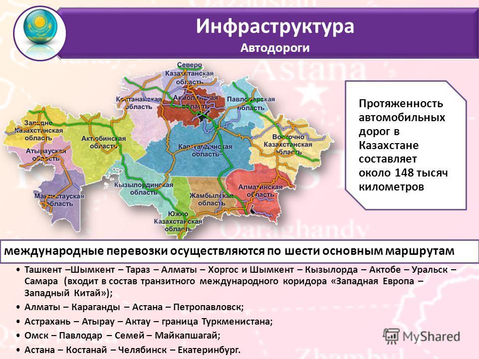 Инфраструктура Автодороги международные перевозки осуществляются по шести основным маршрутам Ташкент –Шымкент – Тараз – Алматы – Хоргос и Шымкент – Кызылорда – Актобе – Уральск – Самара (входит в состав транзитного международного коридора «Западная Е