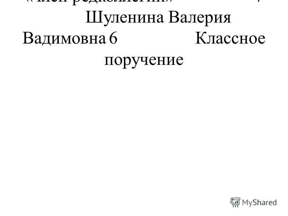 «член редколлегии»7 Шуленина Валерия Вадимовна6Классное поручение