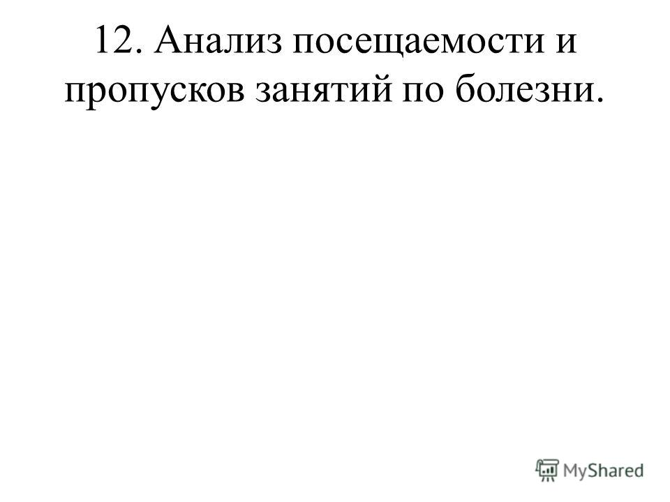 12. Анализ посещаемости и пропусков занятий по болезни.