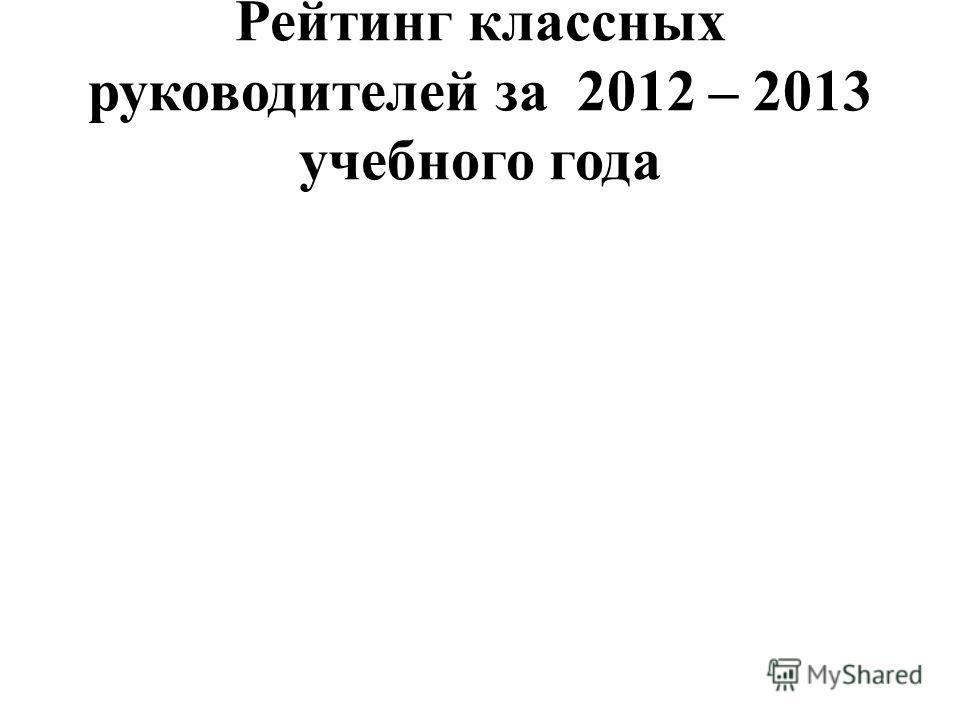 Рейтинг классных руководителей за 2012 – 2013 учебного года