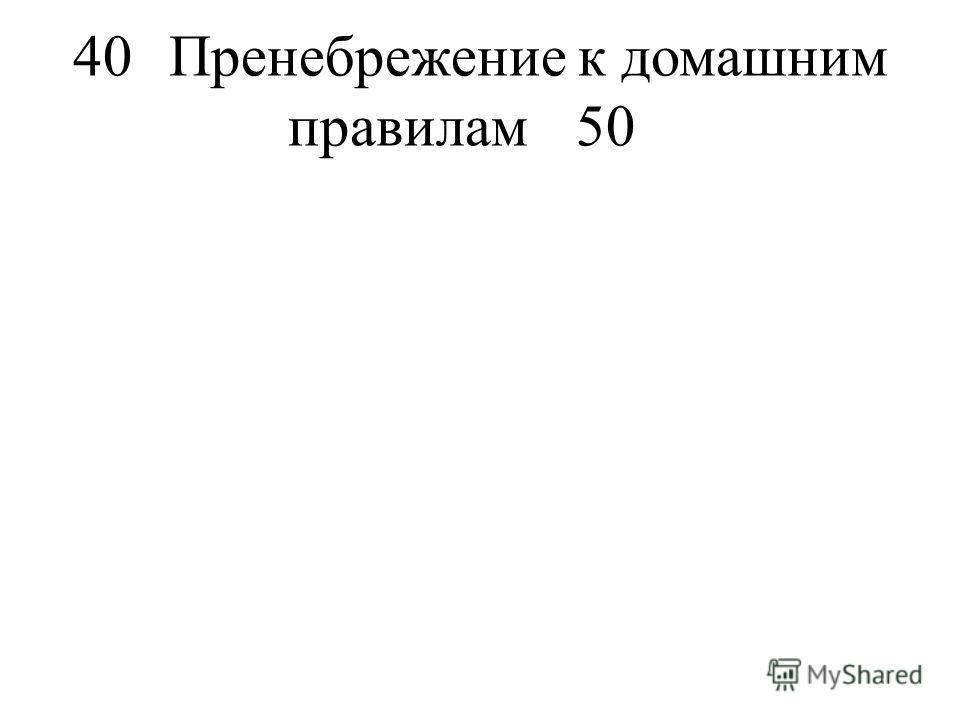 40Пренебрежение к домашним правилам50
