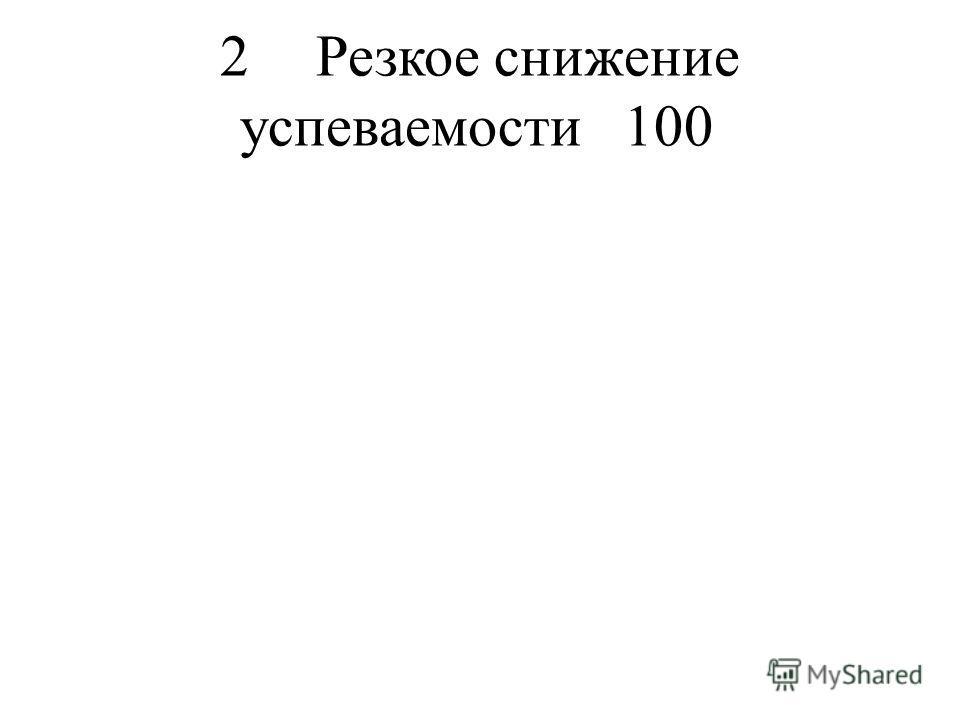 2Резкое снижение успеваемости100