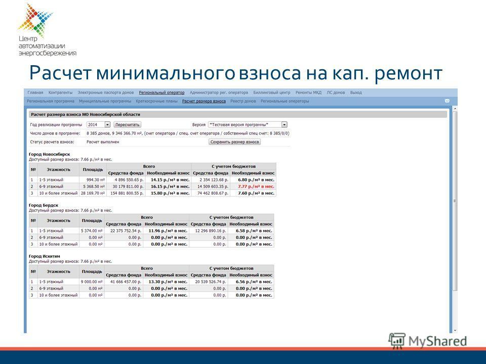 Расчет минимального взноса на кап. ремонт