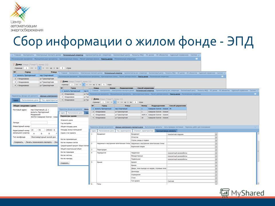 Сбор информации о жилом фонде - ЭПД