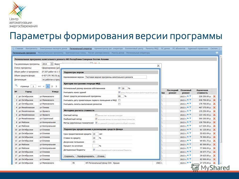 Параметры формирования версии программы