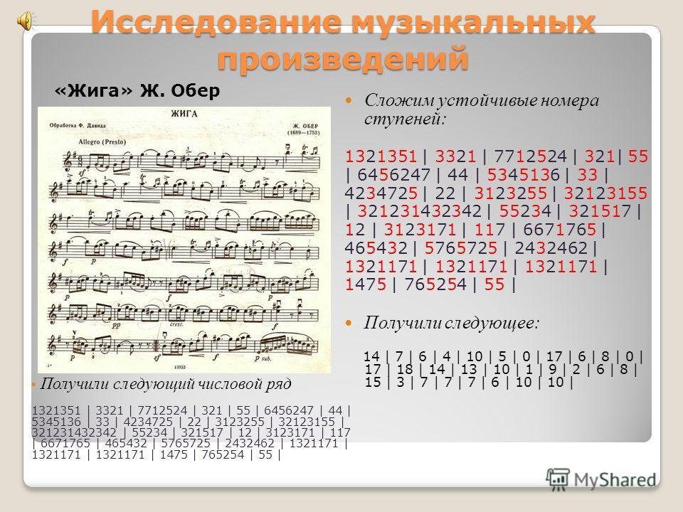 Исследование музыкальных произведений «Мазурка ля минор» Шопен Цифра 1 – I ступень, 2 – II, 3 – III, 4 – IV, 5 – V, 6 – VI, 7 – VII, 8 – I, 9 – II, 0 – III. Переложим ноты на цифры, получили при этом ряд чисел: 5 | 5654 | 5234 | 3432 | 3712 | 1237 |