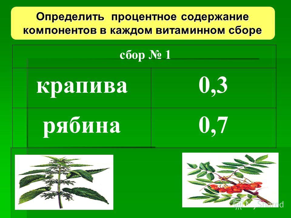 сбор 1 крапива0,3 рябина0,7 Определить процентное содержание компонентов в каждом витаминном сборе