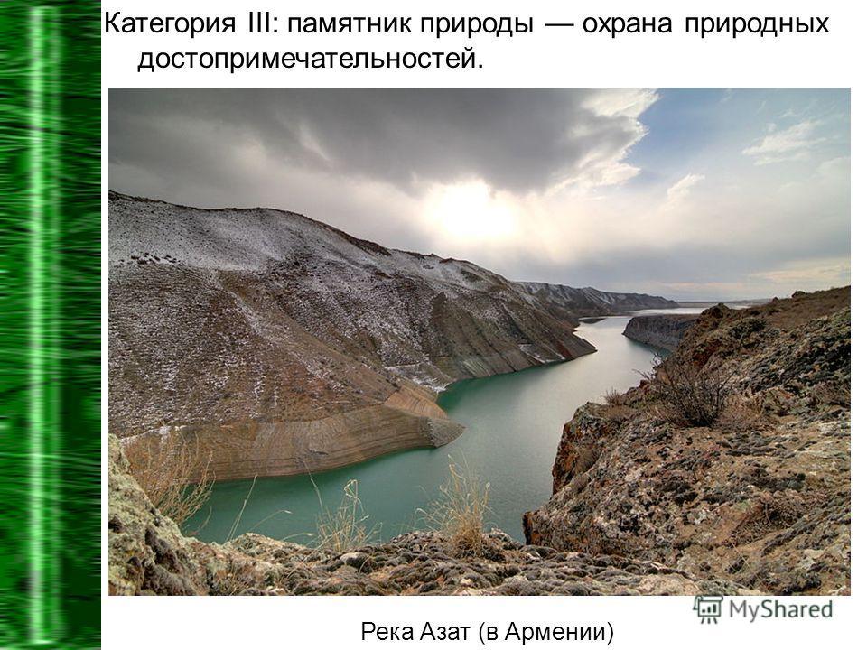 Категория III: памятник природы охрана природных достопримечательностей. Река Азат (в Армении)