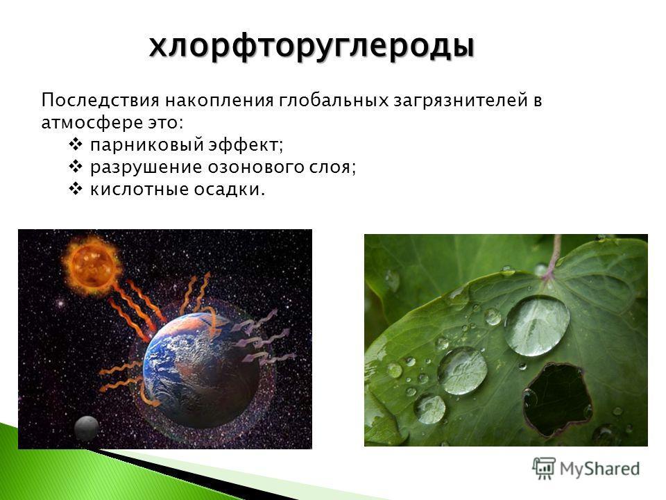 хлорфторуглероды Последствия накопления глобальных загрязнителей в атмосфере это: парниковый эффект; разрушение озонового слоя; кислотные осадки.