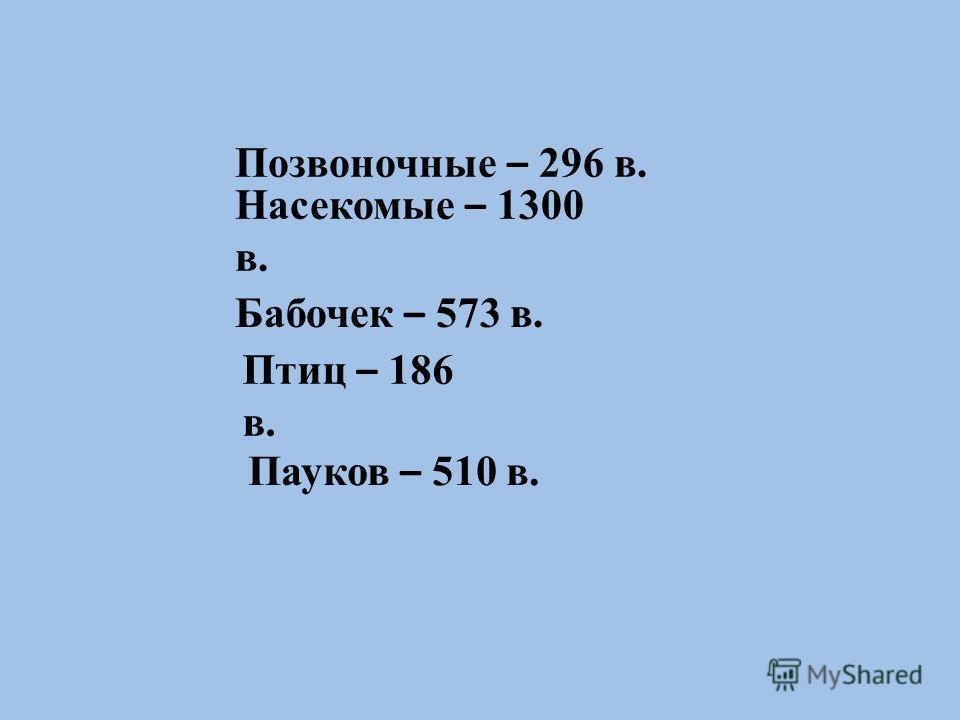 Позвоночные – 296 в. Насекомые – 1300 в. Бабочек – 573 в. Птиц – 186 в. Пауков – 510 в.