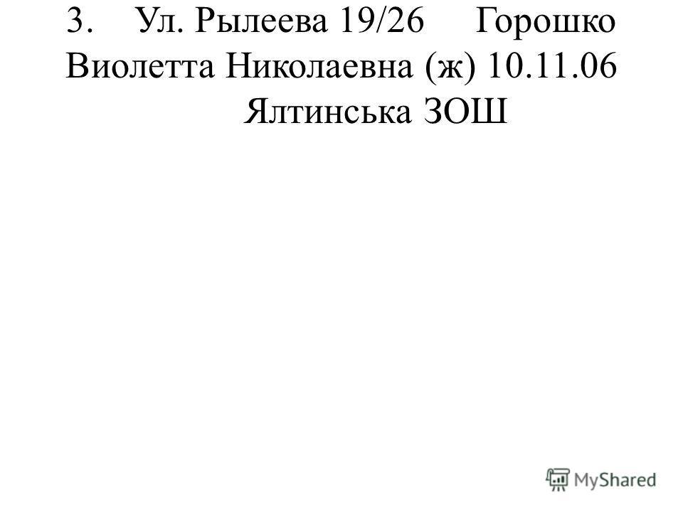 3.Ул. Рылеева 19/26Горошко Виолетта Николаевна (ж) 10.11.06 Ялтинська ЗОШ