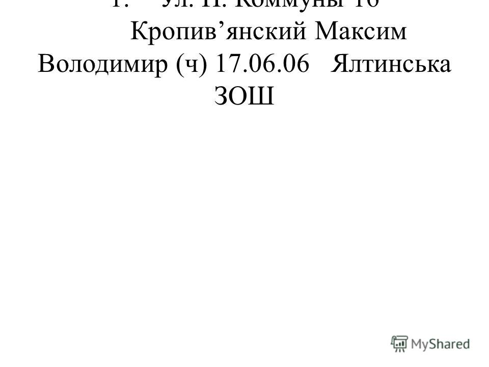 1.Ул. П. Коммуны 16 Кропивянский Максим Володимир (ч) 17.06.06Ялтинська ЗОШ