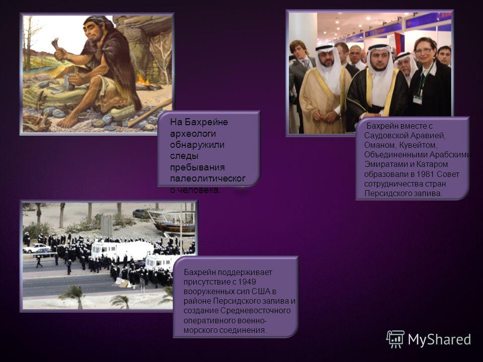 На Бахрейне археологи обнаружили следы пребывания палеолитическог о человека. Бахрейн вместе с Саудовской Аравией, Оманом, Кувейтом, Объединенными Арабскими Эмиратами и Катаром образовали в 1981 Совет сотрудничества стран Персидского залива. Бахрейн