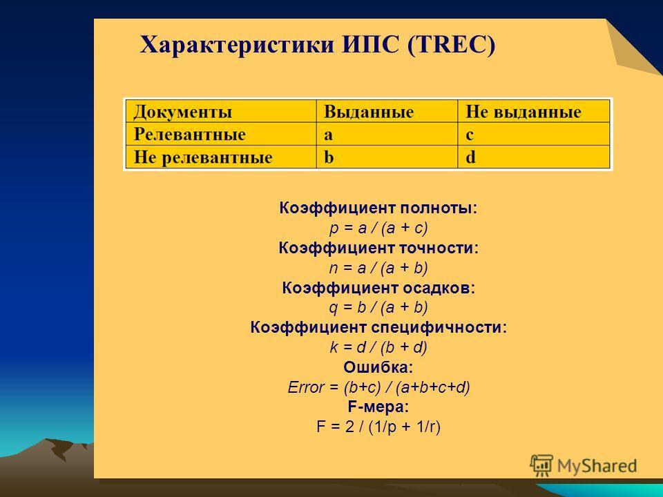 © ElVisti6 Коэффициент полноты: p = a / (a + c) Коэффициент точности: n = a / (a + b) Коэффициент осадков: q = b / (a + b) Коэффициент специфичности: k = d / (b + d) Ошибка: Error = (b+c) / (a+b+c+d) F-мера: F = 2 / (1/p + 1/r) Коэффициент полноты: p