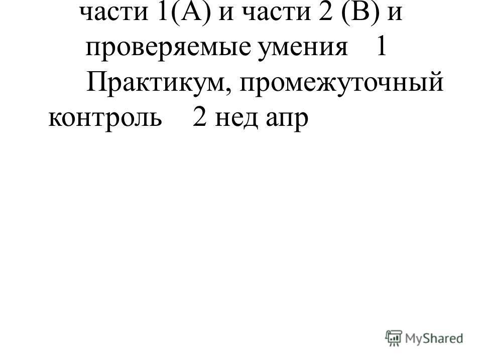 26 Основные модели заданий части 1(А) и части 2 (В) и проверяемые умения 1 Практикум, промежуточный контроль 2 нед апр