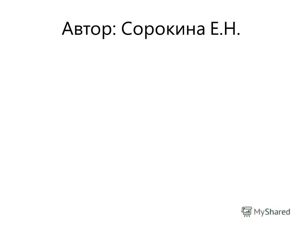 Автор: Сорокина Е.Н.