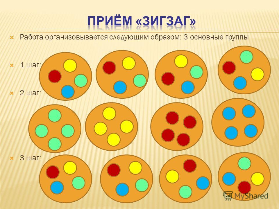 Работа организовывается следующим образом: 3 основные группы 1 шаг: 2 шаг: 3 шаг: