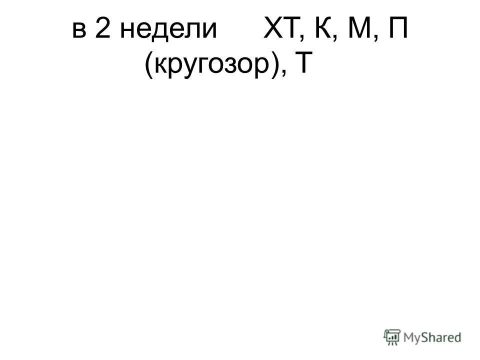 в 2 неделиХТ, К, М, П (кругозор), Т