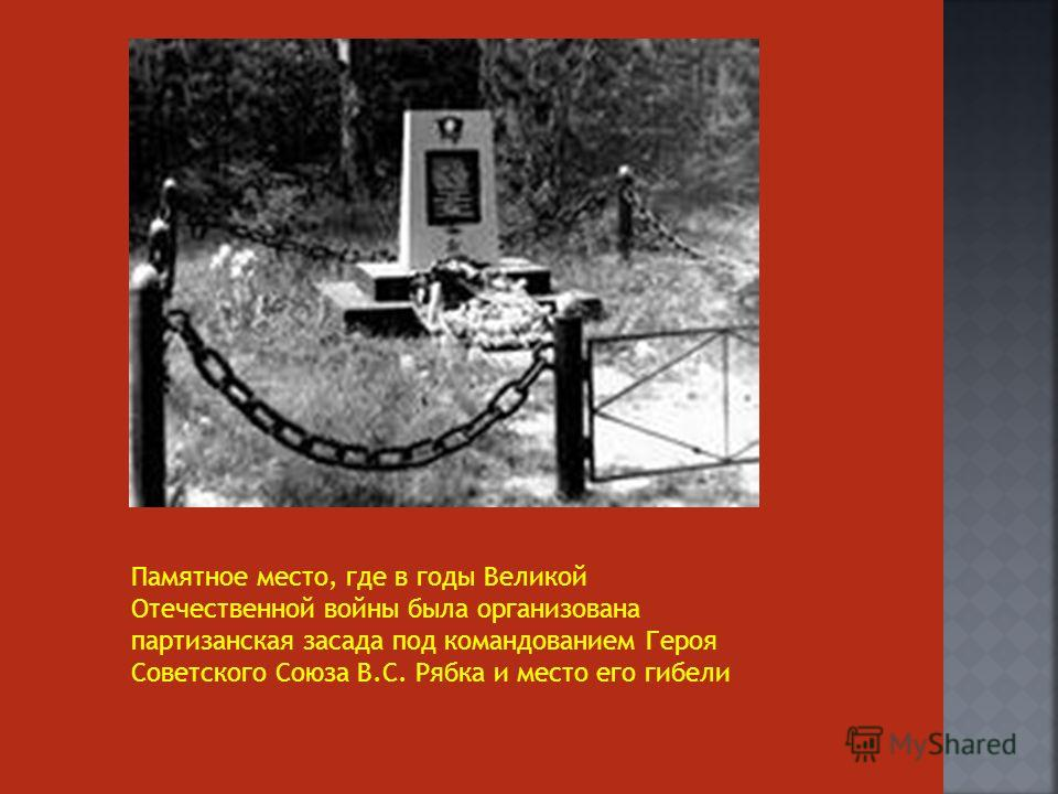 Памятное место, где в годы Великой Отечественной войны была организована партизанская засада под командованием Героя Советского Союза В.С. Рябка и место его гибели