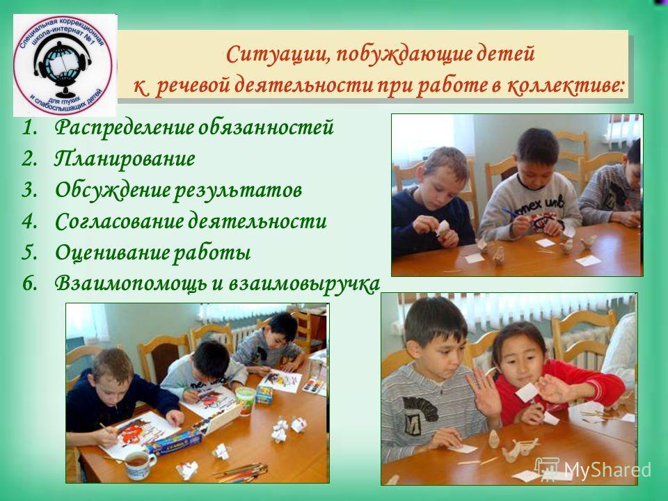 Ситуации, побуждающие детей к речевой деятельности при работе в коллективе: 1.Распределение обязанностей 2.Планирование 3.Обсуждение результатов 4.Согласование деятельности 5.Оценивание работы 6.Взаимопомощь и взаимовыручка