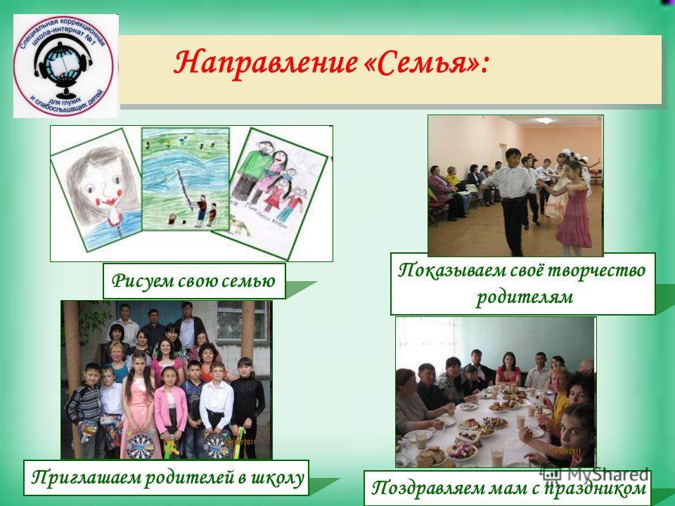 Направление «Семья»: Показываем своё творчество родителям Поздравляем мам с праздником Приглашаем родителей в школу Рисуем свою семью