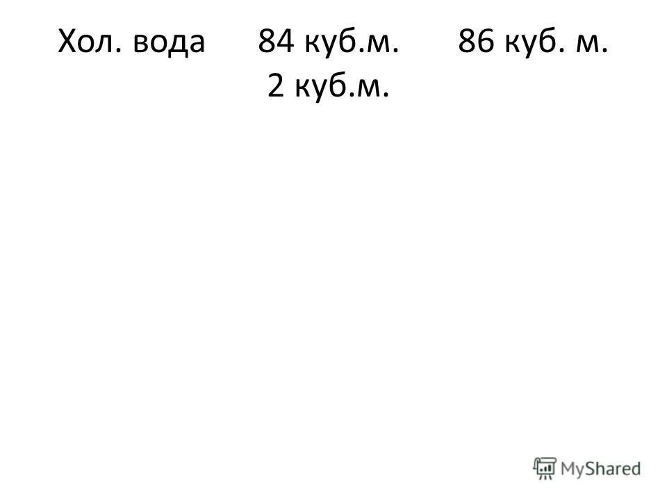 Хол. вода84 куб.м.86 куб. м. 2 куб.м.