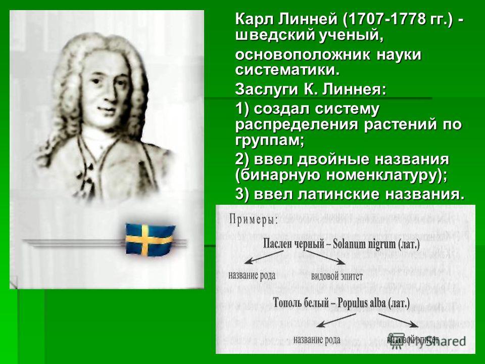 Карл Линней (1707-1778 гг.) - шведский ученый, основоположник науки систематики. Заслуги К. Линнея: 1) создал систему распределения растений по группам; 2) ввел двойные названия (бинарную номенклатуру); 3) ввел латинские названия.