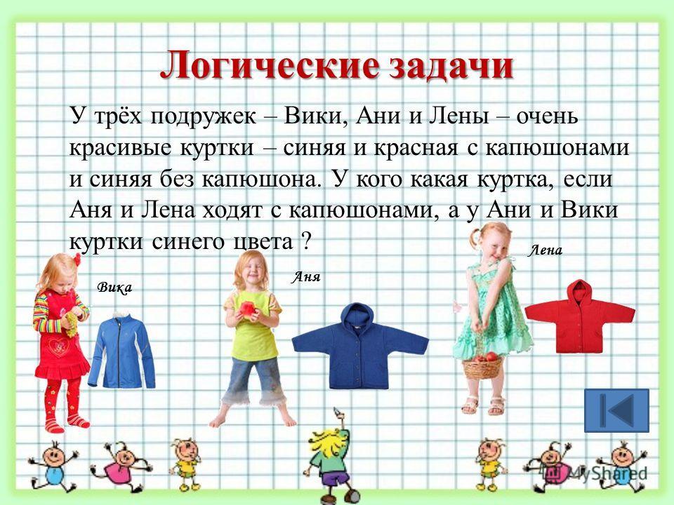 Логические задачи У трёх подружек – Вики, Ани и Лены – очень красивые куртки – синяя и красная с капюшонами и синяя без капюшона. У кого какая куртка, если Аня и Лена ходят с капюшонами, а у Ани и Вики куртки синего цвета ? Вика Аня Лена