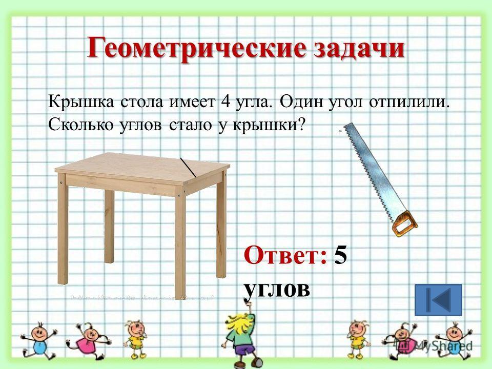 Геометрические задачи Крышка стола имеет 4 угла. Один угол отпилили. Сколько углов стало у крышки? Ответ: 5 углов