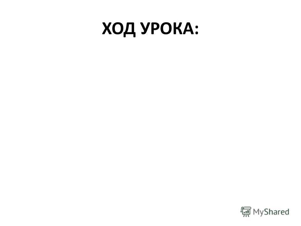 ХОД УРОКА: