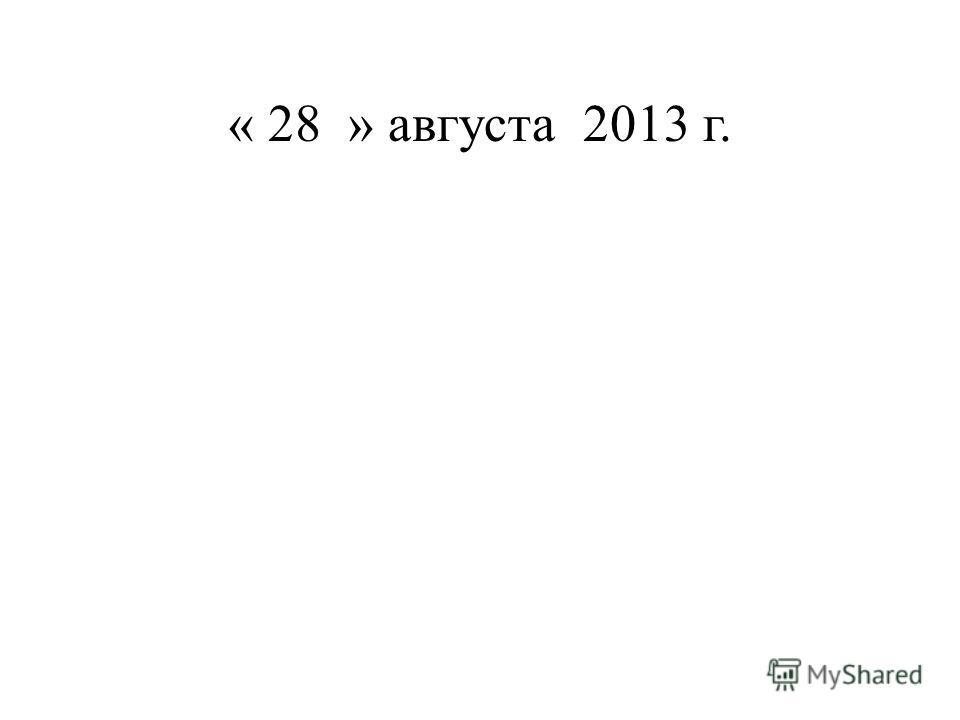 « 28 » августа 2013 г.