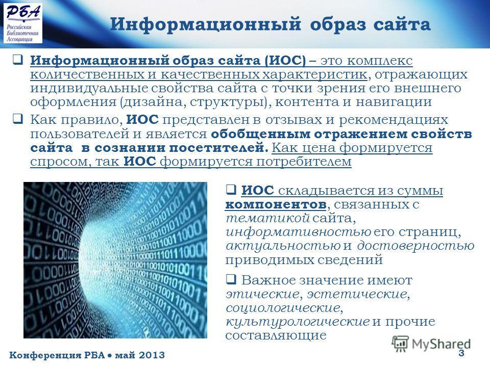 Конференция РБА май 2013 3 Информационный образ сайта Информационный образ сайта (ИОС) – это комплекс количественных и качественных характеристик, отражающих индивидуальные свойства сайта с точки зрения его внешнего оформления (дизайна, структуры), к