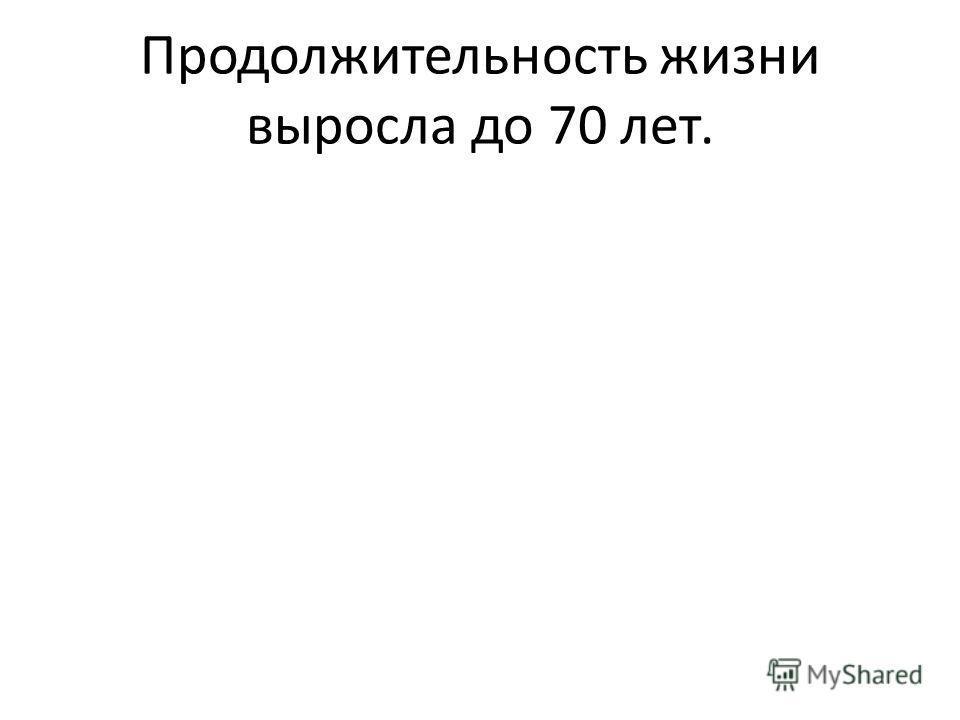 Продолжительность жизни выросла до 70 лет.