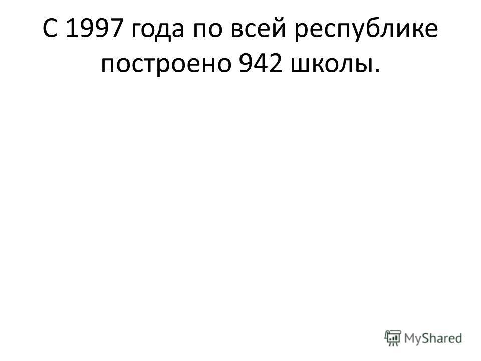 С 1997 года по всей республике построено 942 школы.