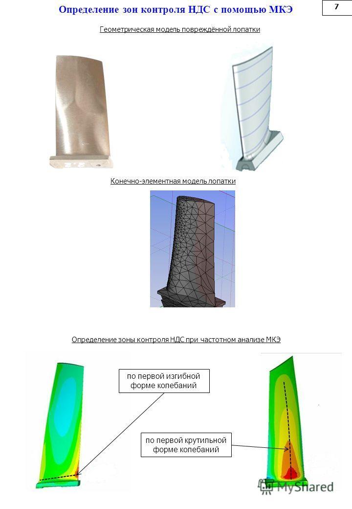 Определение зон контроля НДС с помощью МКЭ 7 Определение зоны контроля НДС при частотном анализе МКЭ Конечно-элементная модель лопатки Геометрическая модель повреждённой лопатки по первой изгибной форме колебаний по первой крутильной форме колебаний