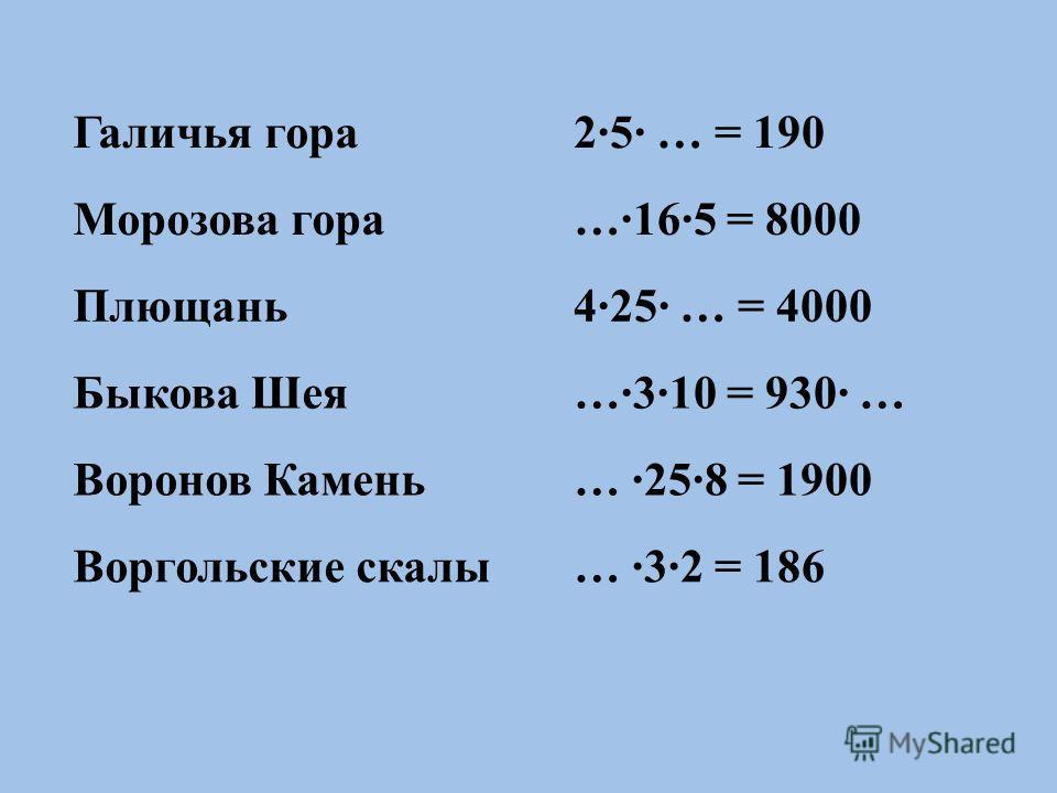 Галичья гора2·5· … = 190 Морозова гора…·16·5 = 8000 Плющань4·25· … = 4000 Быкова Шея…·3·10 = 930· … Воронов Камень… ·25·8 = 1900 Воргольские скалы… ·3·2 = 186