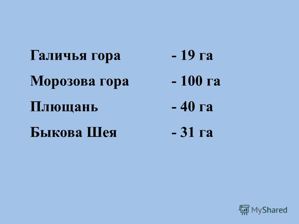 Галичья гора- 19 га Морозова гора- 100 га Плющань- 40 га Быкова Шея- 31 га