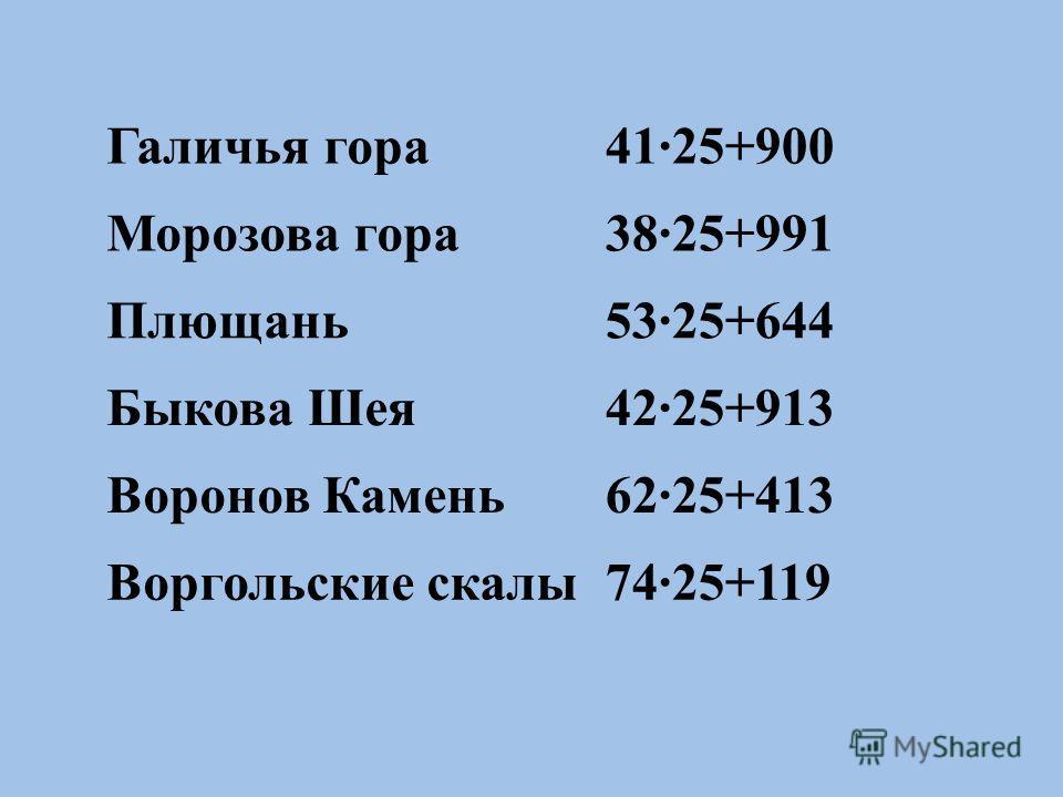 Галичья гора41·25+900 Морозова гора38·25+991 Плющань53·25+644 Быкова Шея42·25+913 Воронов Камень62·25+413 Воргольские скалы74·25+119