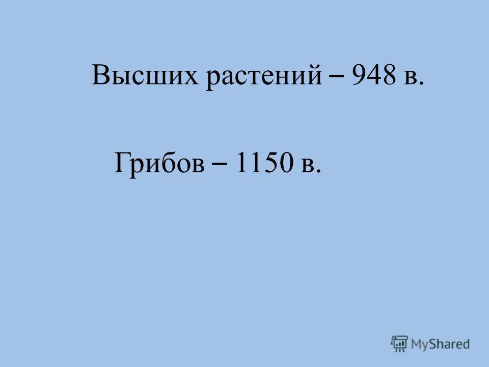 Высших растений – 948 в. Грибов – 1150 в.