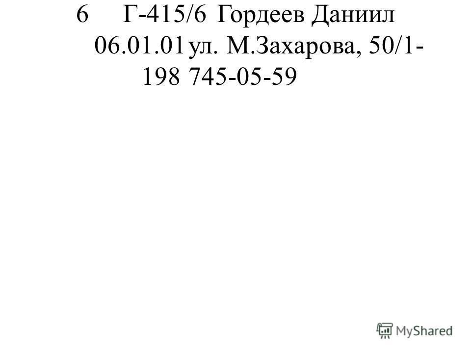 6Г-415/6Гордеев Даниил 06.01.01ул. М.Захарова, 50/1- 198745-05-59