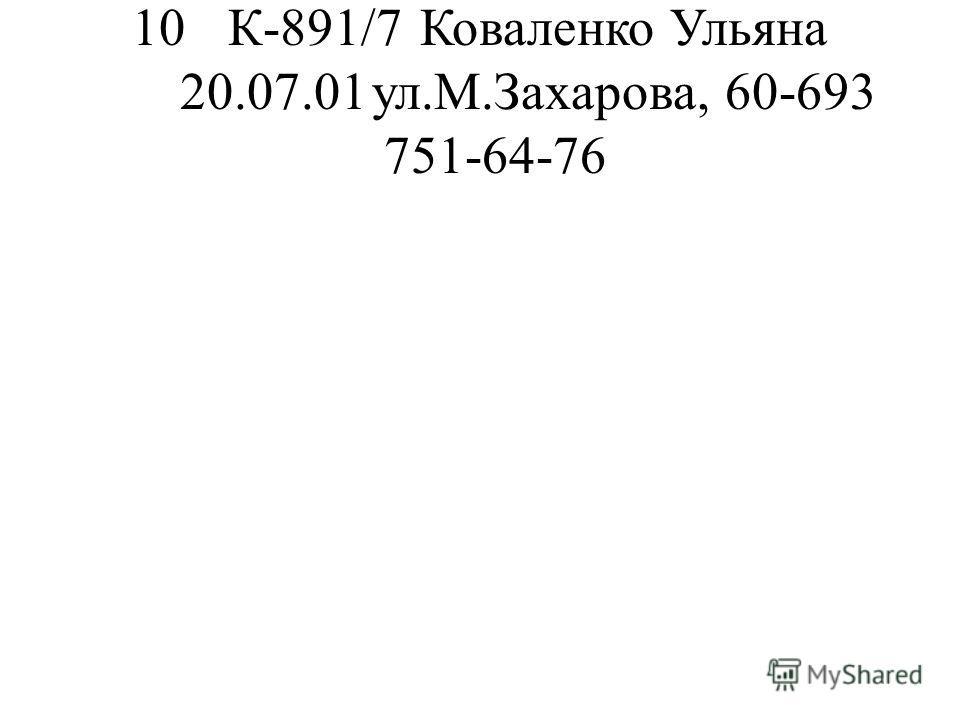 10К-891/7Коваленко Ульяна 20.07.01ул.М.Захарова, 60-693 751-64-76