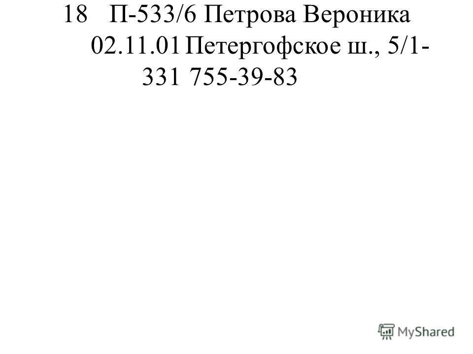 18П-533/6Петрова Вероника 02.11.01Петергофское ш., 5/1- 331755-39-83