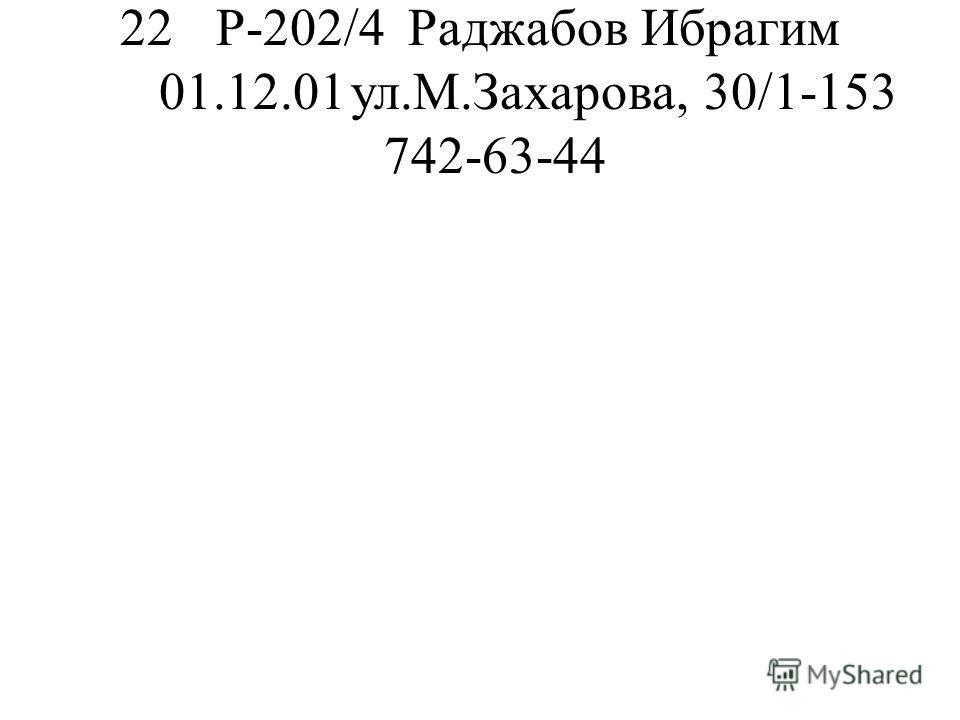 22Р-202/4Раджабов Ибрагим 01.12.01ул.М.Захарова, 30/1-153 742-63-44