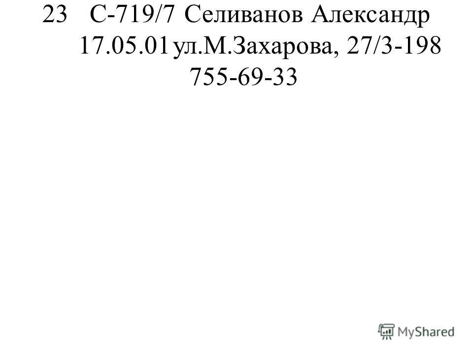 23С-719/7Селиванов Александр 17.05.01ул.М.Захарова, 27/3-198 755-69-33