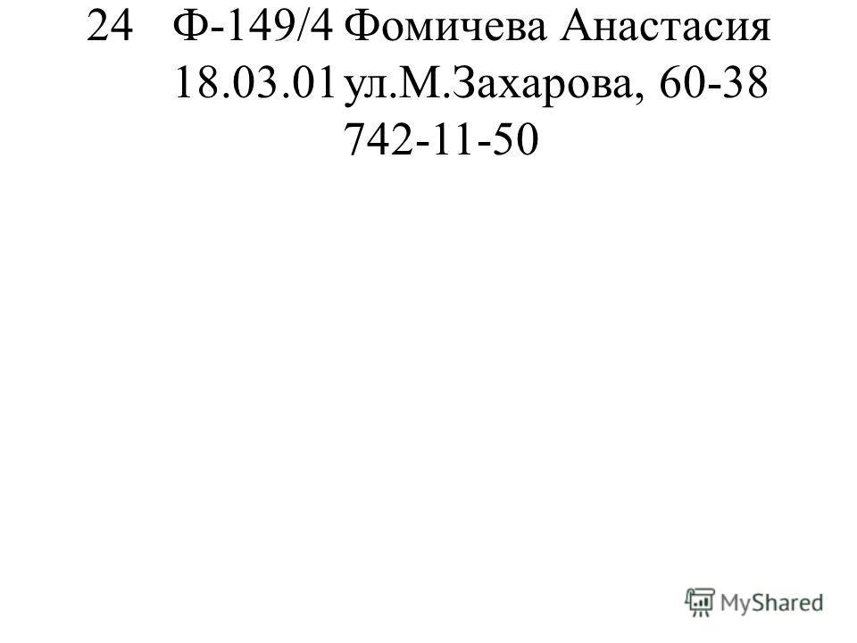 24Ф-149/4Фомичева Анастасия 18.03.01ул.М.Захарова, 60-38 742-11-50