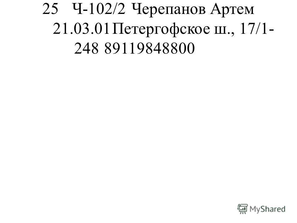25Ч-102/2Черепанов Артем 21.03.01Петергофское ш., 17/1- 24889119848800