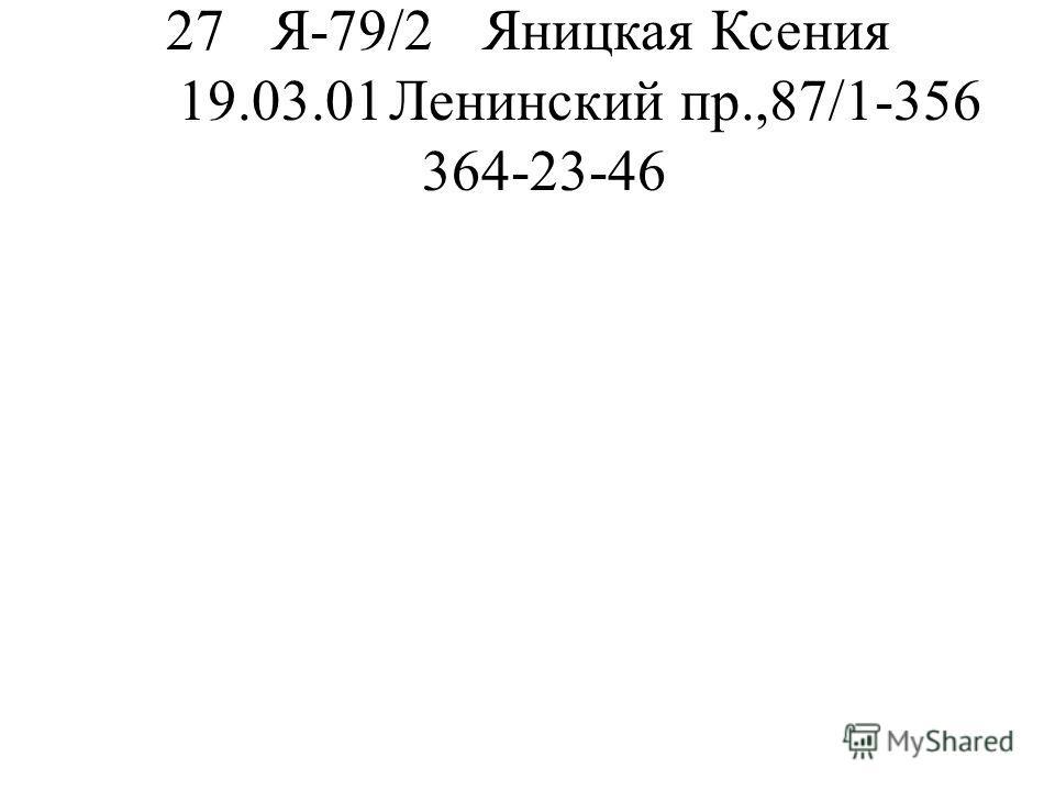 27Я-79/2Яницкая Ксения 19.03.01Ленинский пр.,87/1-356 364-23-46